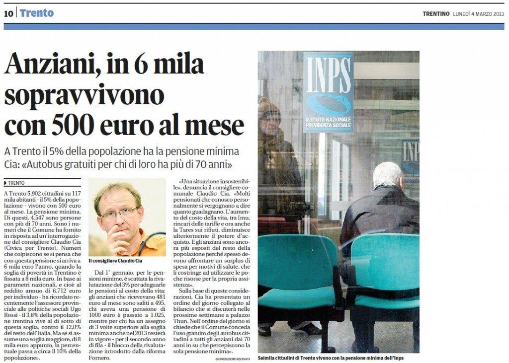 Anziani, in 6 mila sopravvivono con 500 euro al mese