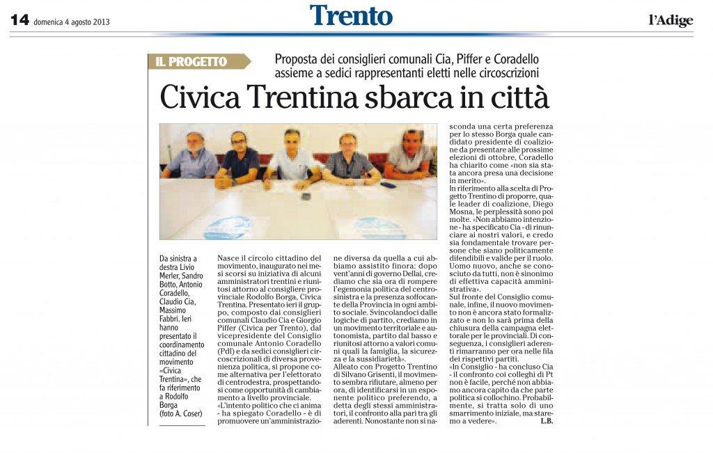 Civica Trentina sbarca in città