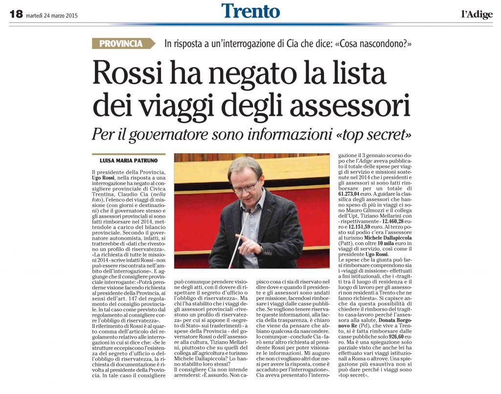 Rossi ha negato la lista di viaggio degli assessori
