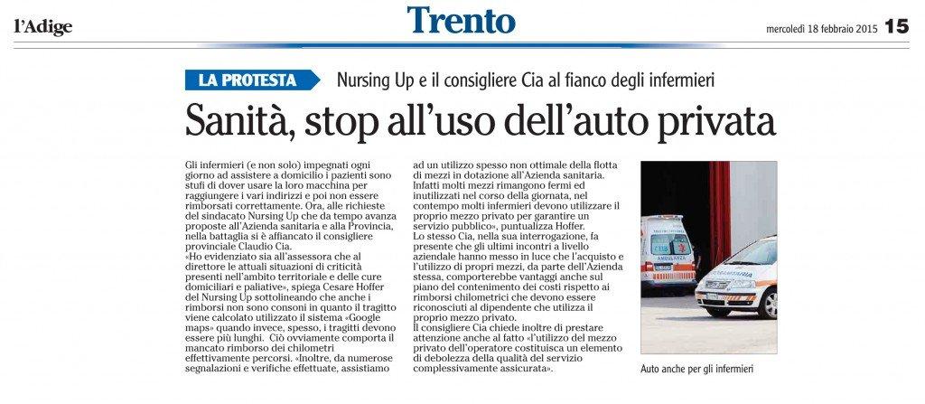 Sanità, stop all'uso dell'auto privata