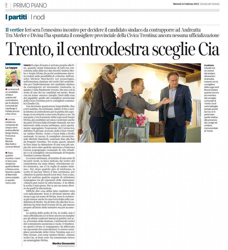 Trento, il centrodestra sceglie Cia