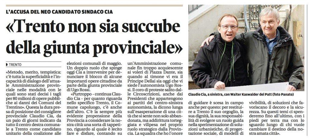 Trento non sia succube della giunta provinciale