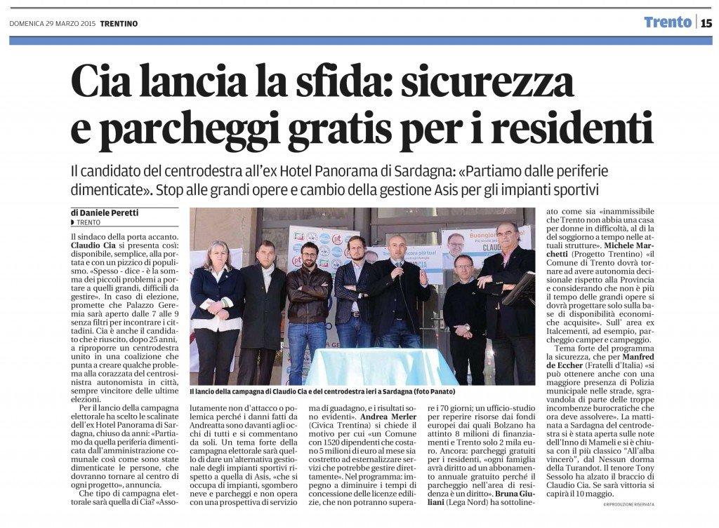 Claudio Cia lancia la sfida: sicurezza e parcheggi gratis per i residenti