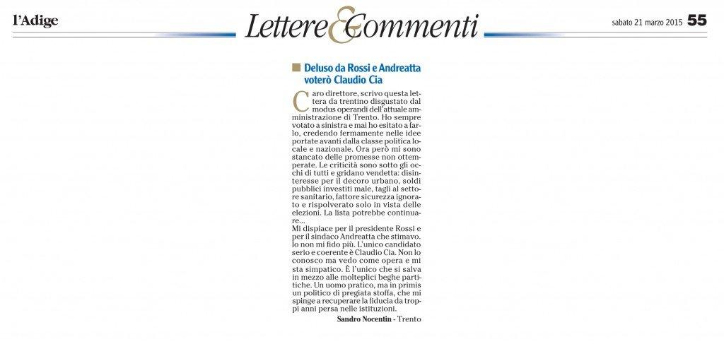 Deluso da Rossi e Andreatta, voterò Claudio Cia