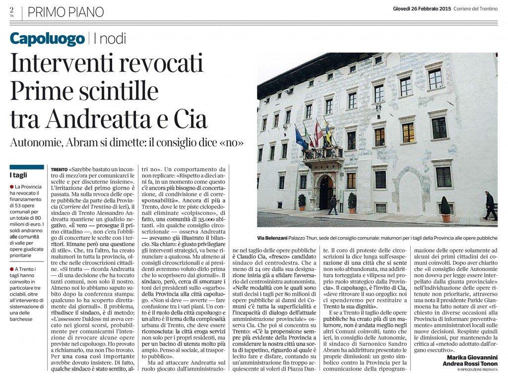 Interventi revocati: prime scintille tra Andreatta e Cia