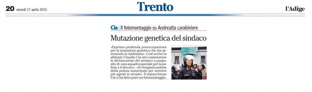 Il fotomontaggio su Andreatta carabiniere