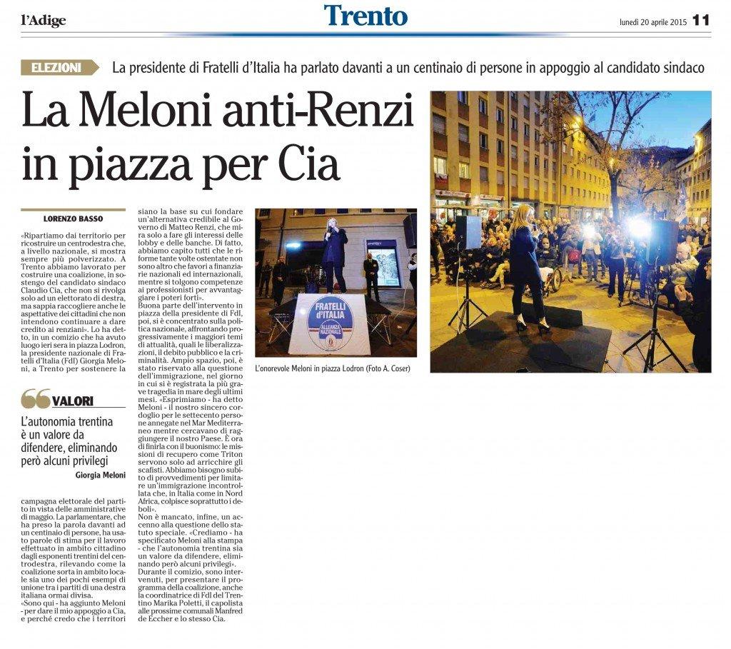 La Meloni anti-Renzi in piazza per Cia