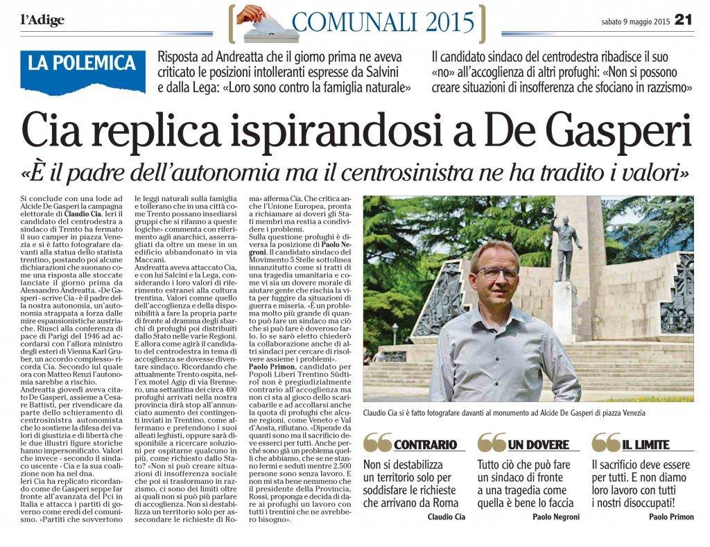 Cia replica ispirandosi a De Gasperi