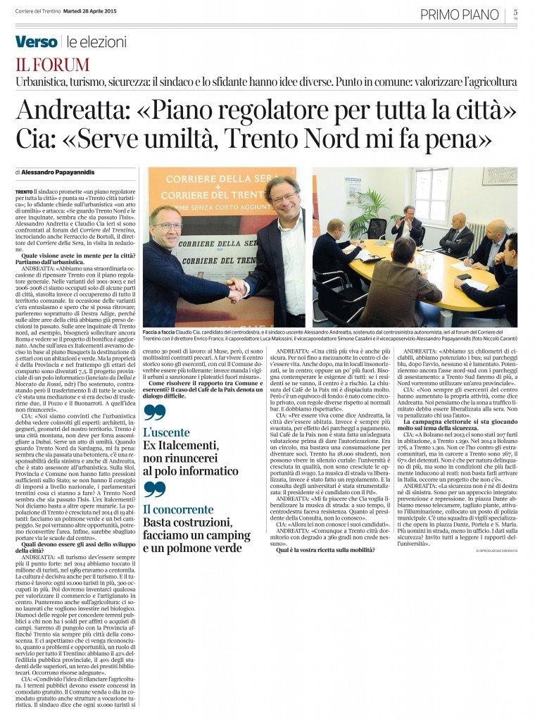 Intervista Corriere del Trentino