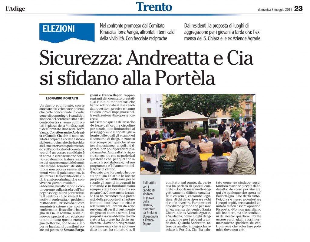 Sicurezza, Andreatta e Cia si sfidano alla Portèla