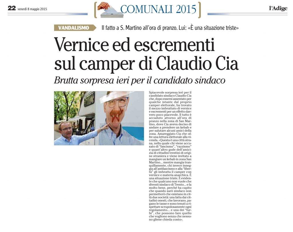Vernice ed escrementi sul camper di Claudio Cia
