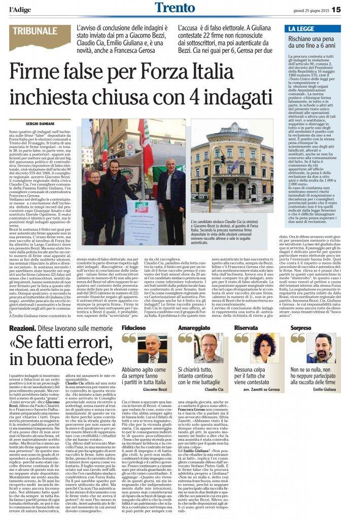Firme false per Forza Italia, inchiesta chiusa con 4 indagati