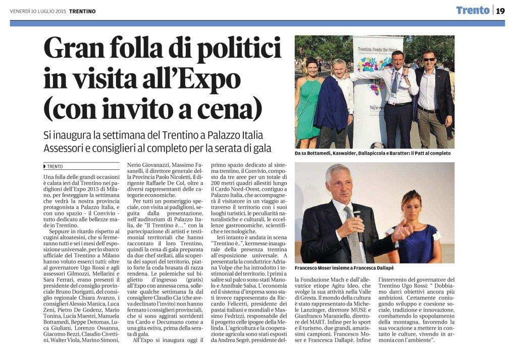 Gran folla di politici in visita all'Expo