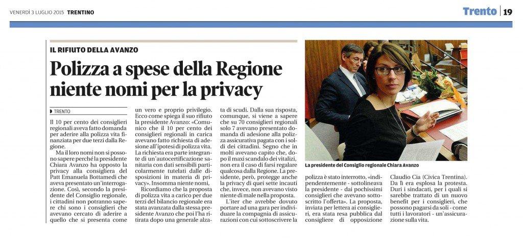 Polizza a spese della Regione, niente nomi per la privacy