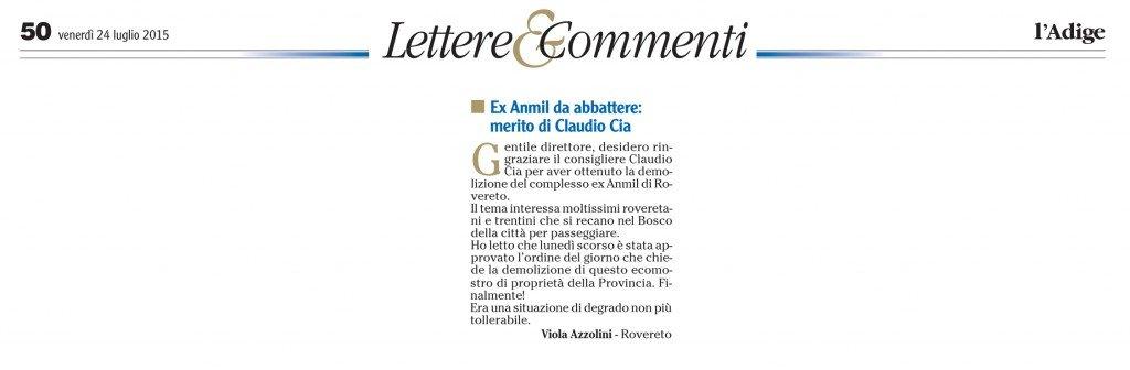 Ex Anmil da abbattere, merito di Claudio Cia