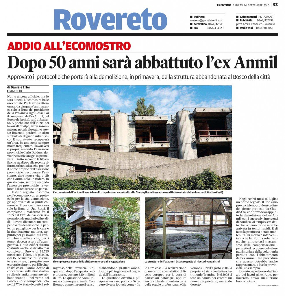 Ex Anmil, dopo 50 anni abbattuto