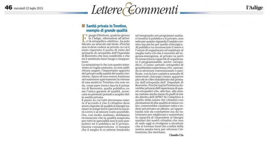 Sanità privata in Trentino, esempio di grande qualità