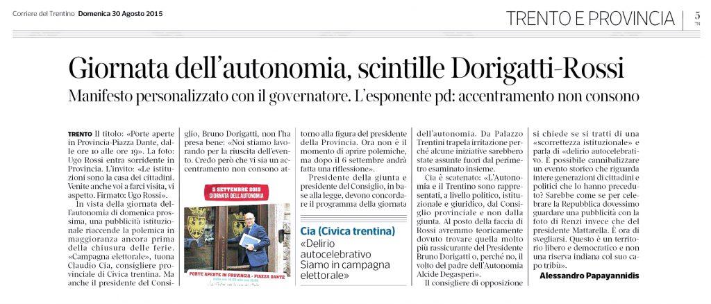 Giornata Autonomia, scintille Dorigatti-Rossi
