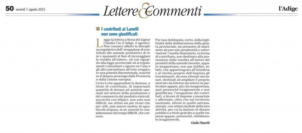 I contributi ai Lunelli non sono giustificati