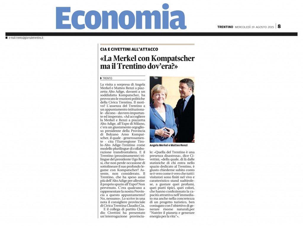 La Merkel con Kompatscher, ma il Trentino dov'era?