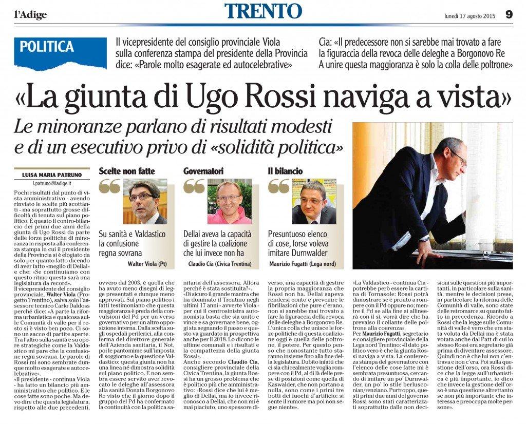 La giunta di Ugo Rossi naviga a vista