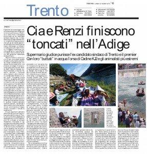 Cia e Renzi finiscono toncati nell'Adige