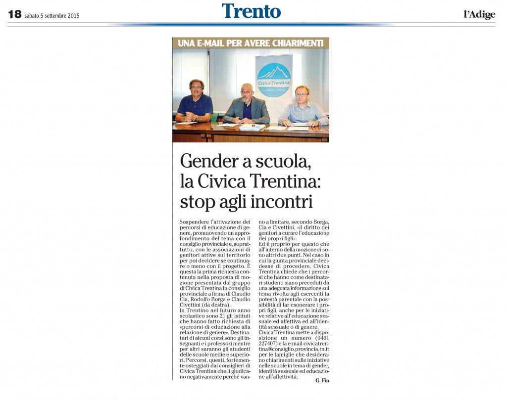 Gender a scuola, Civica Trentina, stop agli incontri