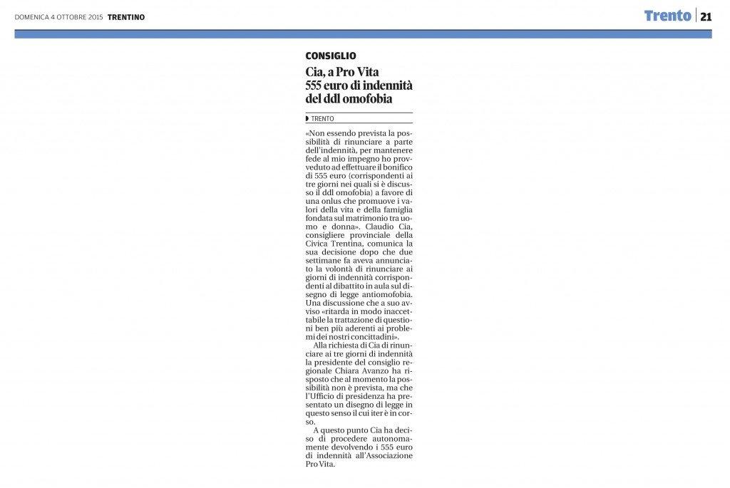 Cia, a ProVita 555 euro di indennità del ddl omofobia