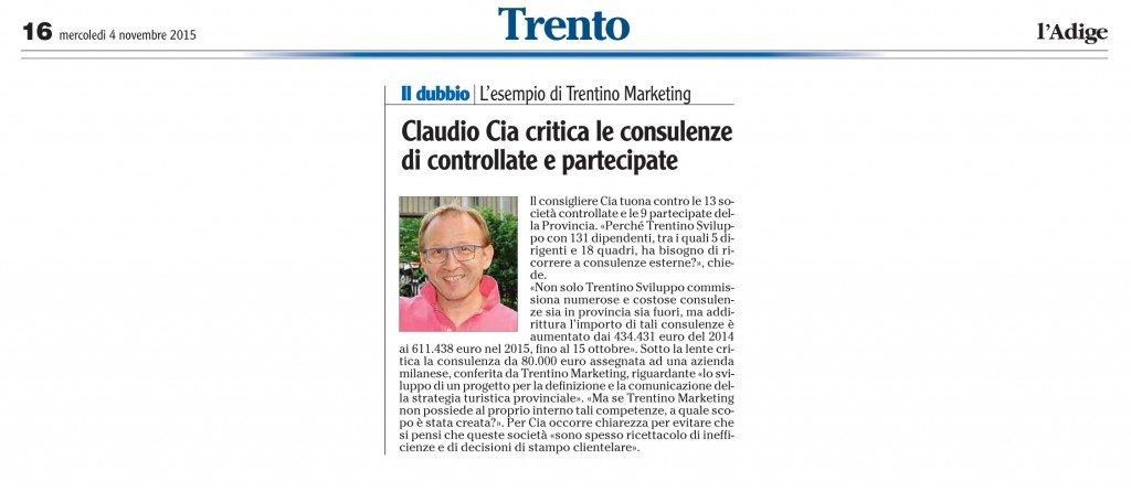 Claudio Cia critica le consulenze di controllate e partecipate