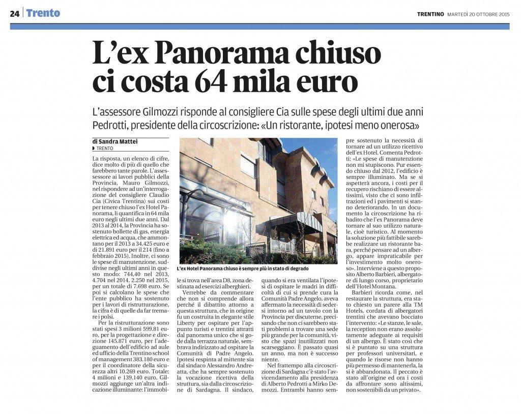 L'ex panorama chiuso ci costa 64mila euro