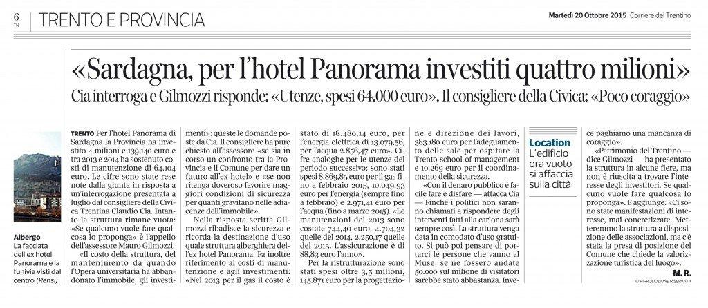 Sardagna, 4 milioni per l'hotel Panorama