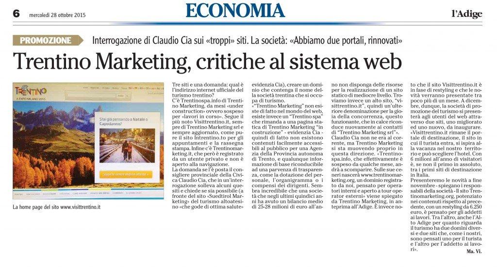Trentino Marketing, critiche al sistema web