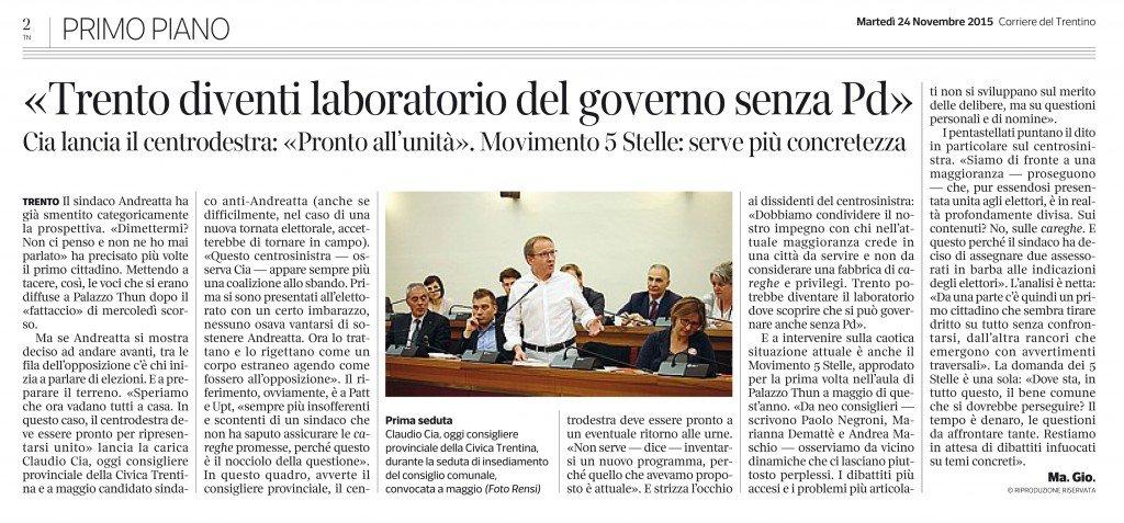 Trento diventi laboratorio del governo senza Pd