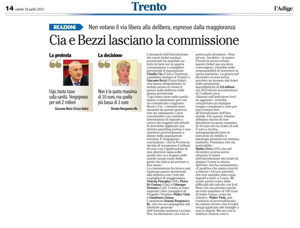 Cia e Bezzi lasciano la commissione