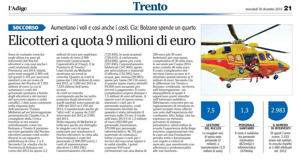 Elicotteri a quota 9 milioni di euro