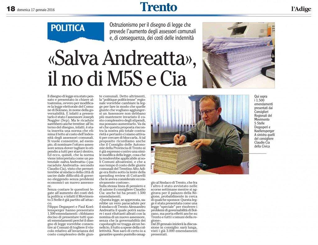 Salva Andreatta, il no di M5S e Cia