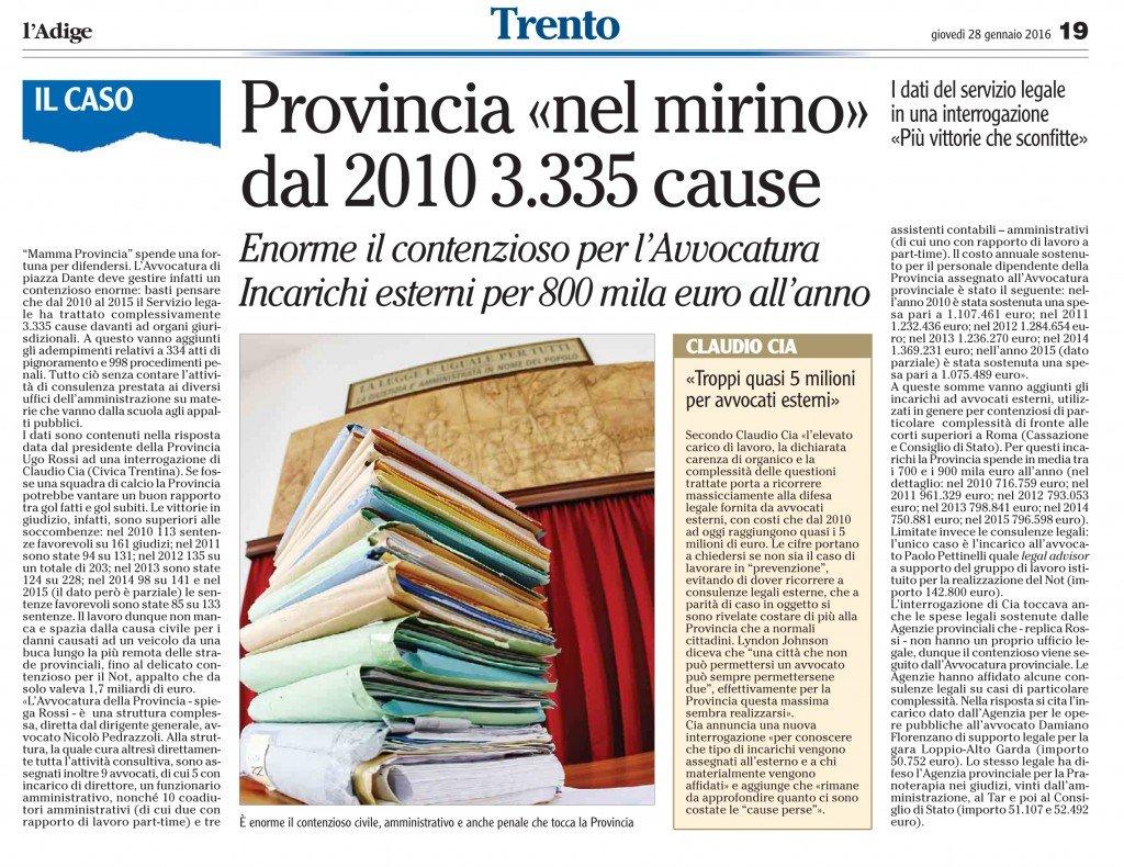 Troppi quasi 5 milioni per avvocati esterni