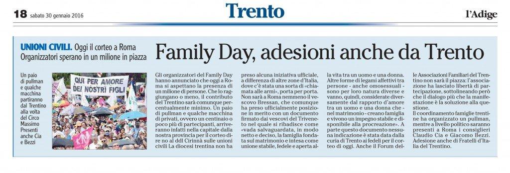 Family Day, adesioni anche da Trento