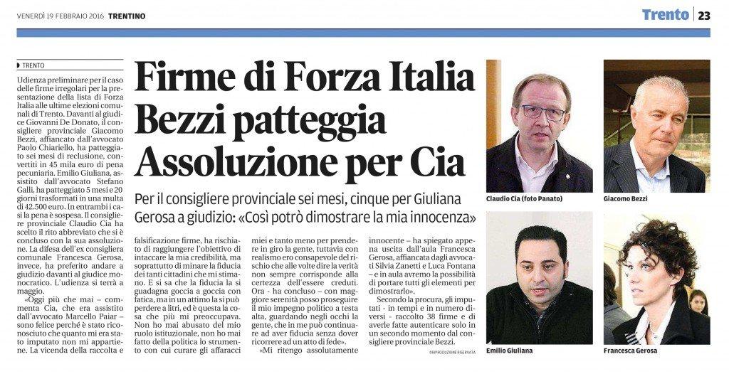 Firme di Forza Italia, assoluzione per Cia