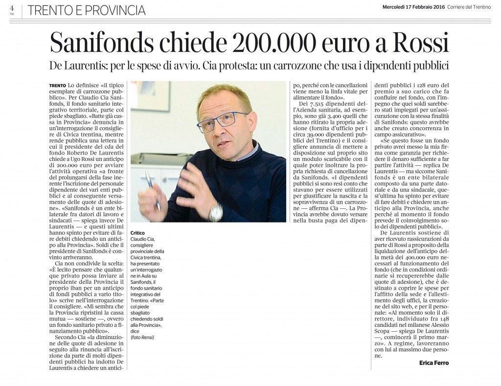 Sanifonds chiede 200 mila euro a Rossi