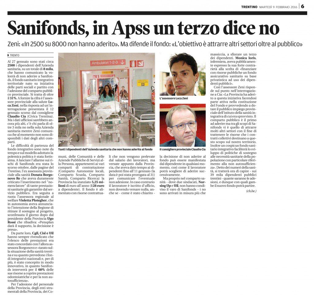 Sanifonds, in Apss un terzo dice no