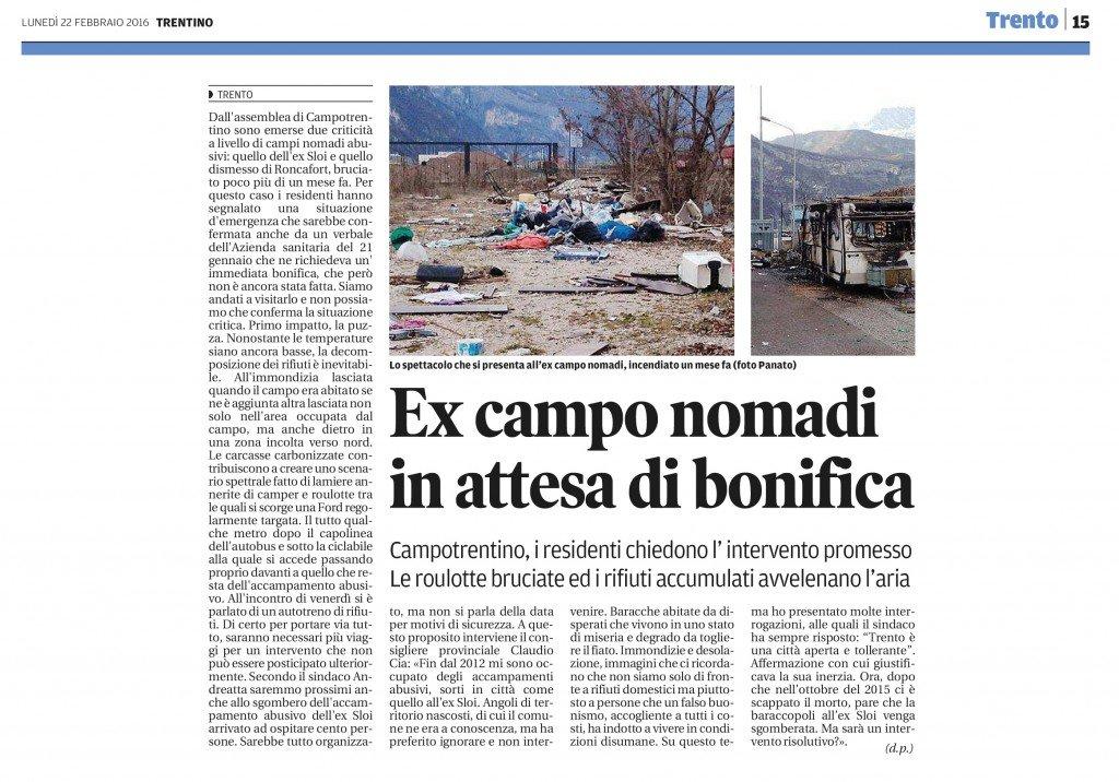 Ex campo nomadi in attesa di bonifica