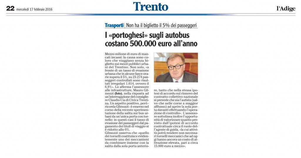 I portoghesi sugli autobus costano 500 mila euro all'anno