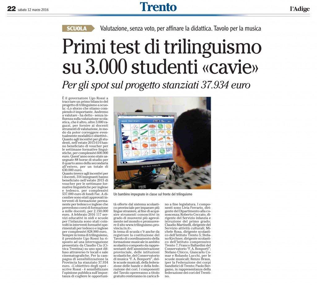 Per gli spot del trilinguismo spesi 37900 euro