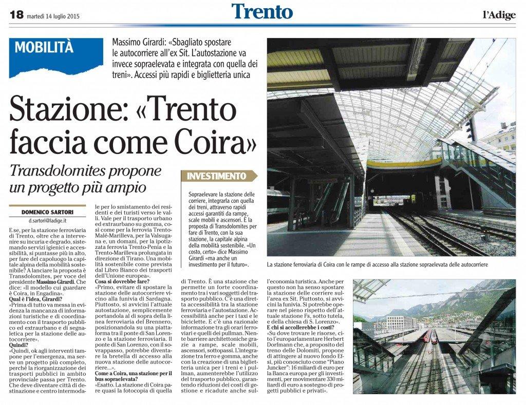 Stazione, Trento faccia come Coira - Transdolomites presenta un progetto più ampio