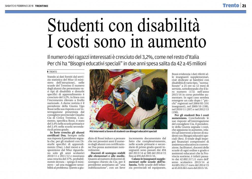 Studenti con disabilità, costi in aumento