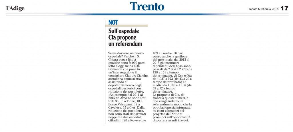 Sull'ospedale Cia propone un referendum