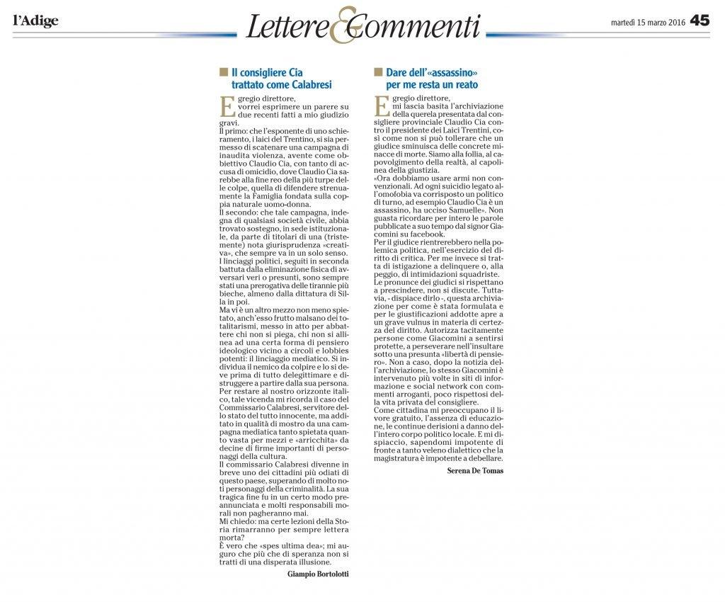 lettere su archiviazione Giacomini