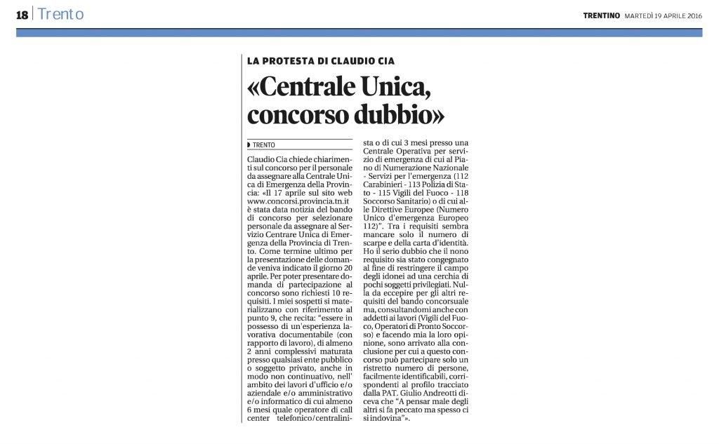Centrale Unica, concorso dubbio