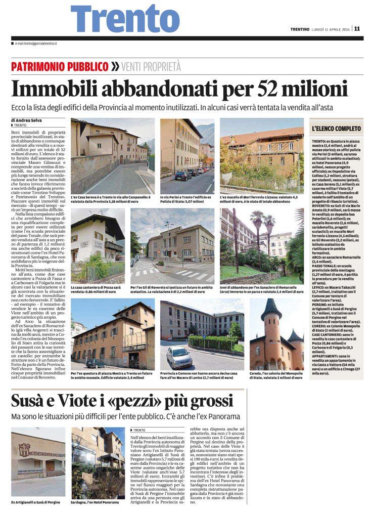 Immobili abbandonati per 52 milioni